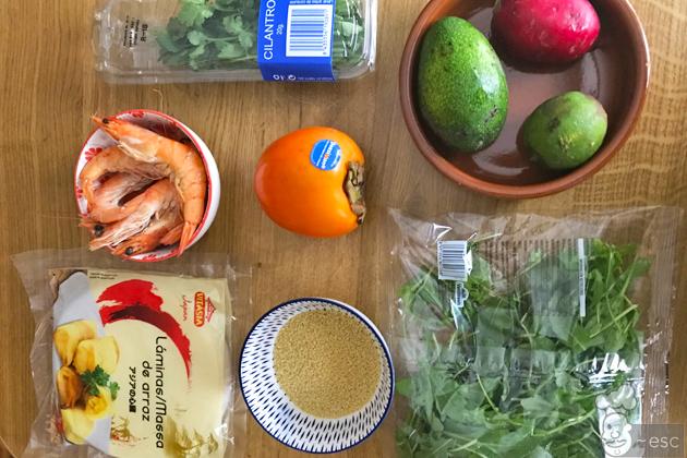 Ingredientes para hacer los Rollitos vietnamitas de kaki
