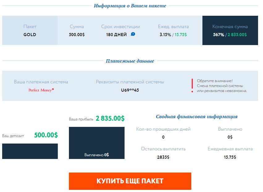 Оплата пакета в ForexBusters