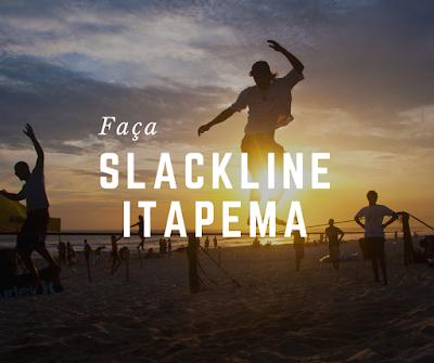 Slackline em Itapema fita esticada na Meia Praia