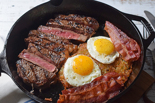 Steak and eggs featuring prime Certified Angus Beef from Food City in Knoxville.