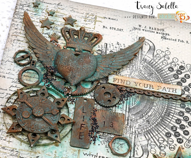 Industrial Steampunk Card by Tracey Sabella for Studio75: #studio75 #scrapiniec #finnabair #Primamarketing #thecraftersworkshop #timholtz #stampersanonymous #helmar #thermoweb #7gypsies #industrial #steampunk #rust #mixedmedia #masculine #masculinecard #card #cards #vintage #typewriter #wings