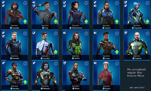 War Robots regular pilots avatar collection list