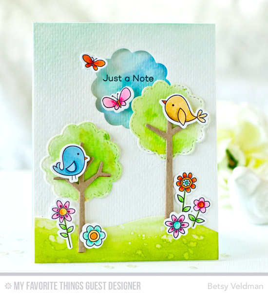 Tweet Note Card by Betsy Veldman featuring the I'm Tweet on You stamp set and Die-namics and the Tree-mendous Die-namics #mftstamps