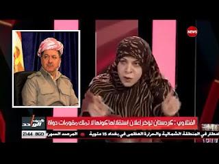 """النائبة """"حنان الفتلاوي"""" الى مسعود بارزاني مصيرك سيكون مثل مصير المجرم صدام"""