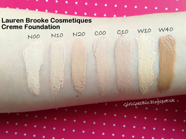 Lauren Brooke Cosmetiques creme foundation swatches