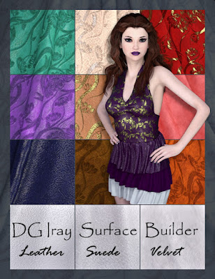 3d Models Art Zone - DG Iray Surface Builder - Leather Suede Velvet - Shaders and Merchant Resource