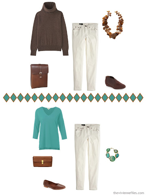 Capsule wardrobe in a brown, and turquoise color palette, inspired by art: Spirit of Autumn by Albert Pinkham Ryder