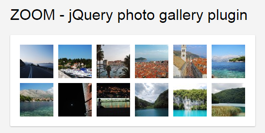 jQuery Photo Gallery Plugin With Zoom Effect - Top jQuery