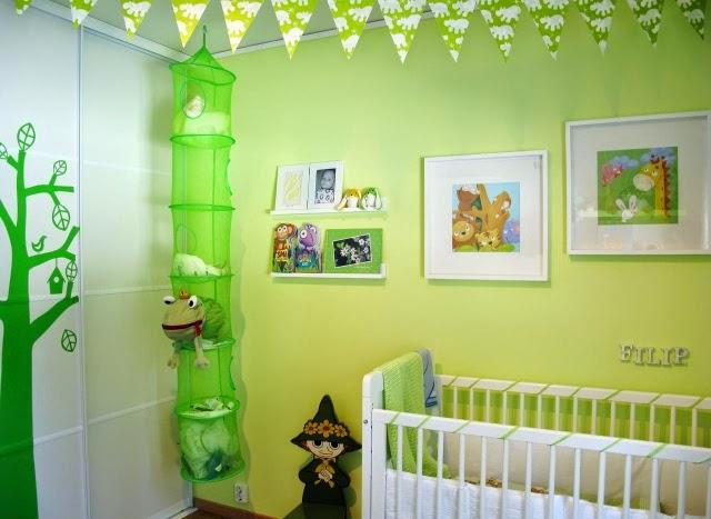 dormitorio verde para bebé