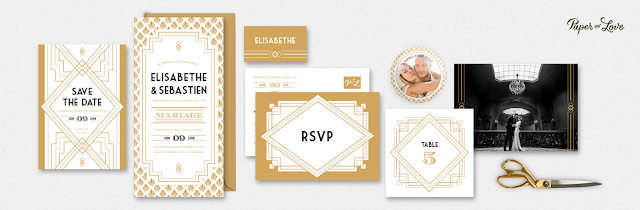 Faire-part collection Gatsby Paper and Love blog mariage www.unjourmonprinceviendra26.com