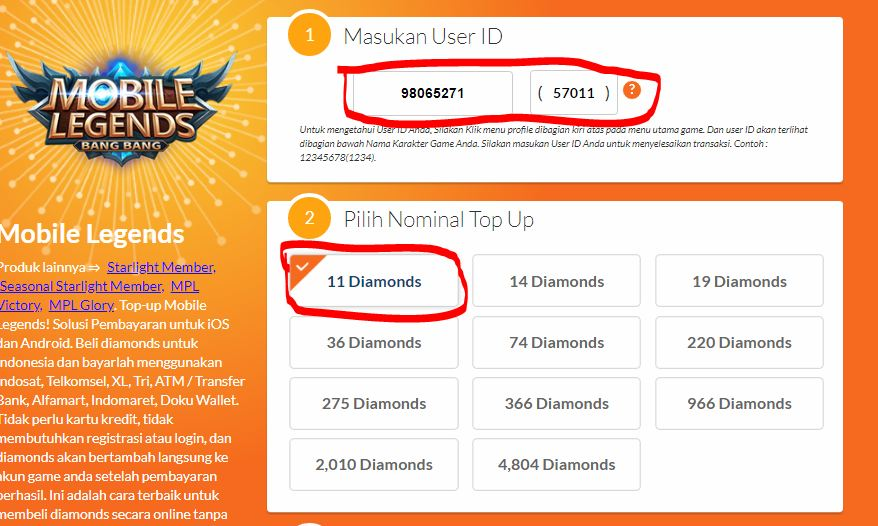 Beli Diamond Mobile Legends Dengan Pulsa Paket Data Kuota