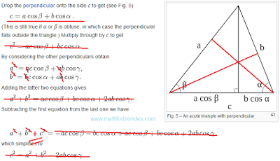Analysis of proof. Law of cosines and perimeter. Mathematics For Blondes.