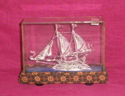 miniatur kapal silve plated