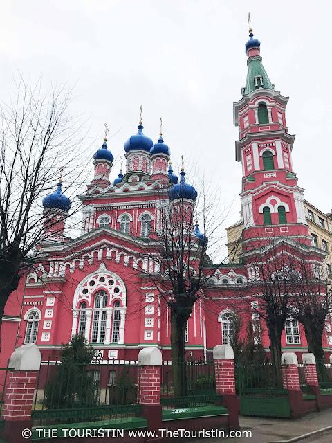 View of Holy Trinity Orthodox Church in Āgenskalns facade. riga. latvia. the touristin