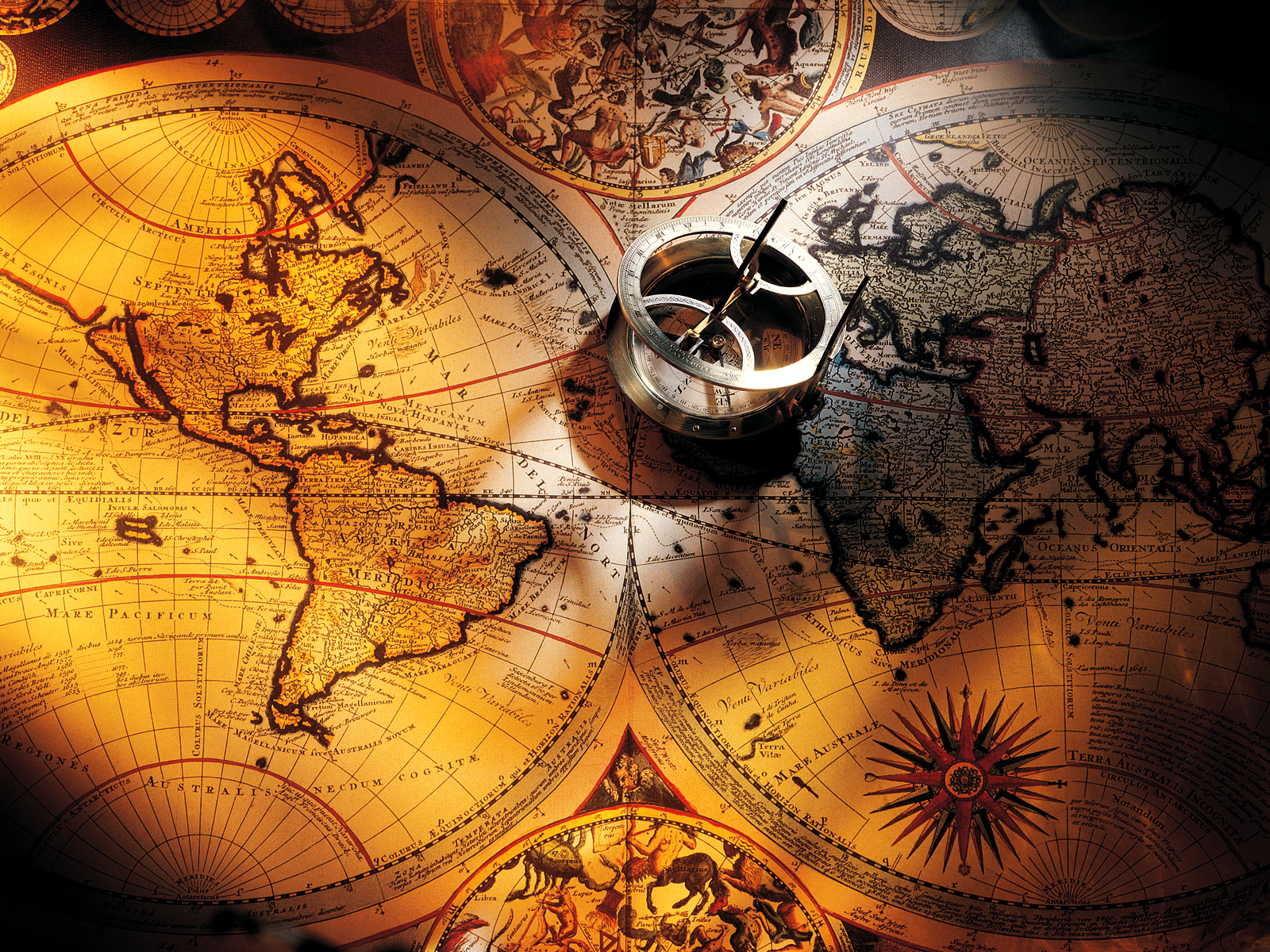 Old World Map And Compass Wallpaper