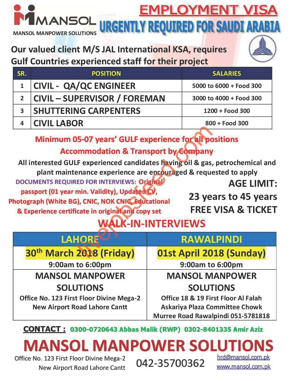 mansol manpower solutions urgently required for suadi arabia civil qa qc engineer civil supervisor foreman others walk in interviews