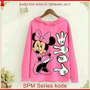 15SPM Model Sweater Mickey Mouse Pink Wanita Bj6115