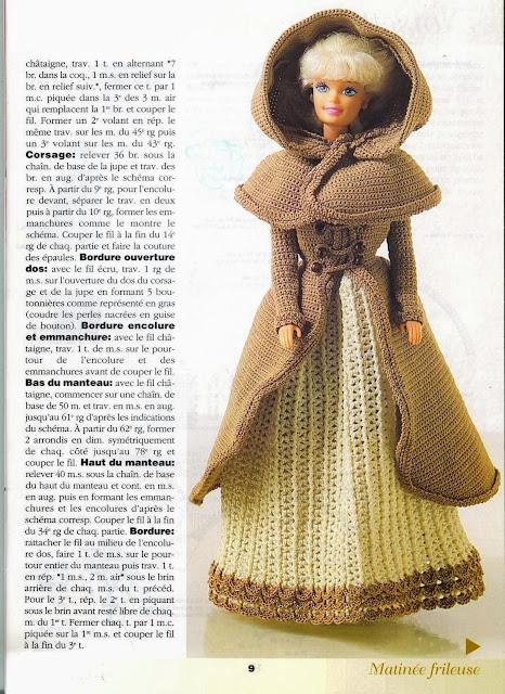 Vestido de Crochê Para Barbie Com Gráfico Robes de Poupées Au Crochet - Noisette