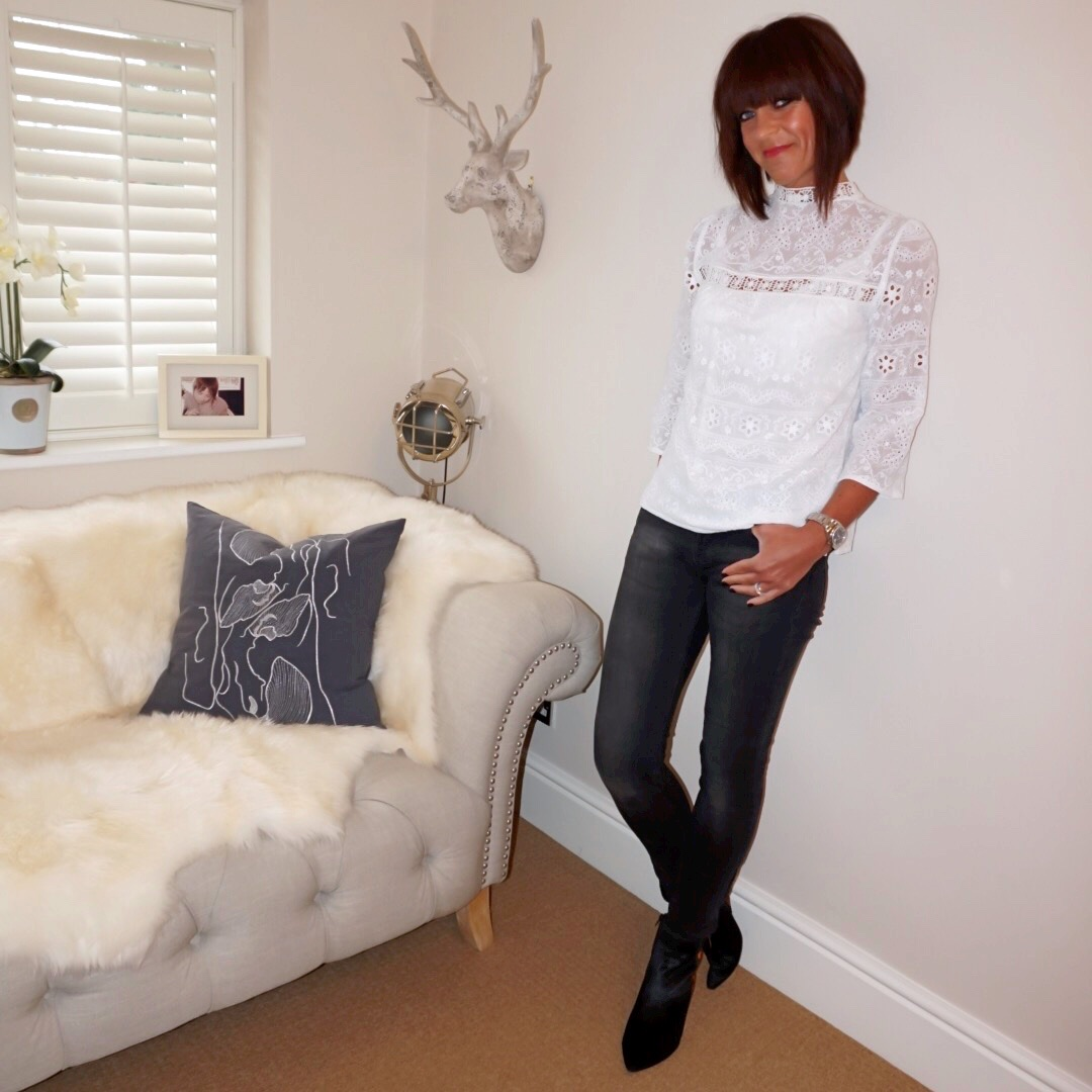 my midlife fashion, john lewis somerset by alice temperley lace top, zara faded black skinny jeans, marks and spencer double zip leopard print ankle boots