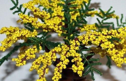 мимоза из бисера цветы