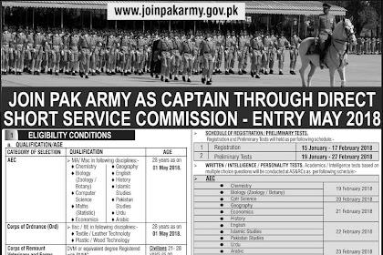 Join Pak Army As Captain, Major Through SSRC Commission 2018 Registration Online