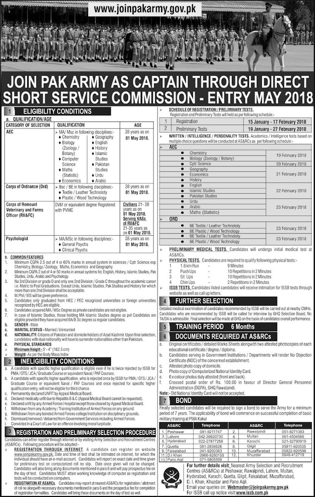 Join Pak Army As Captain, Major Through SSRC Commission 2018 Registration Online