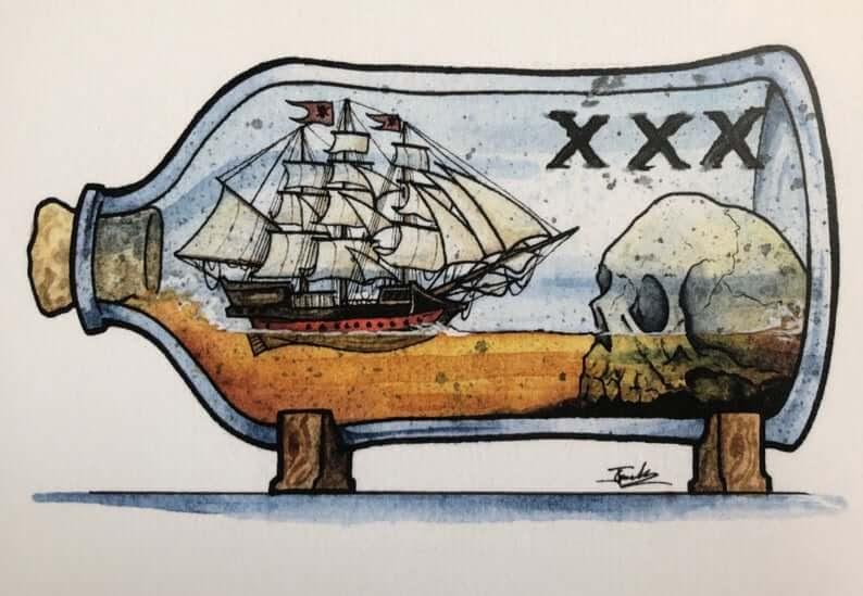 03-Pirate-Ship-Rum-Jon-Guerdrum-Ship-in-a-Bottle-Drawings-and-Paintings-www-designstack-co