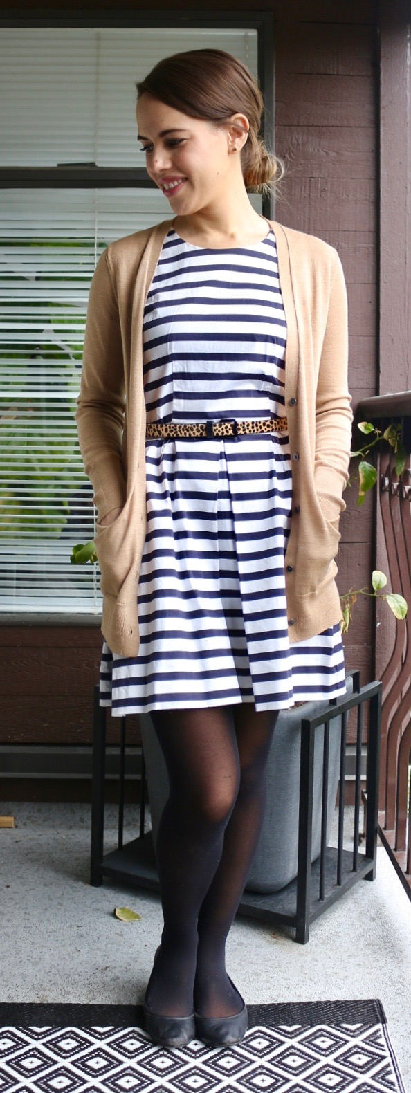 Jules in Flats - Gap Striped Fit and Flare Dress, Leopard Print Belt, Camel Cardigan