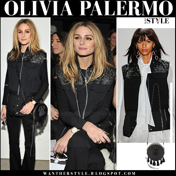 Olivia Palermo in black studded vest and black pants front row rebecca minkoff what she wore