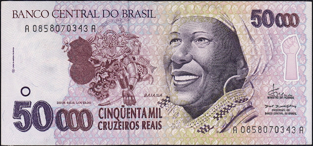 Brazil money currency 50000 Cruzeiros Reais banknote 1993 Baiana