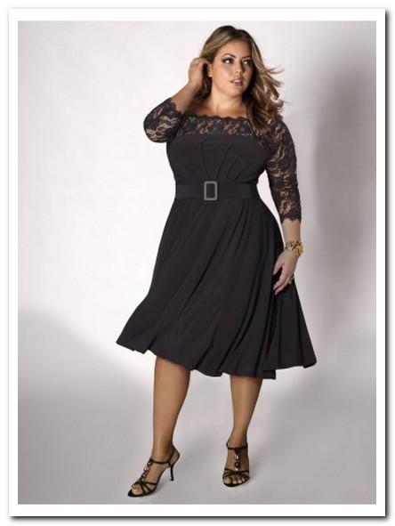 Semi Formal Black Plus Size Dress Sleeves   prom trend