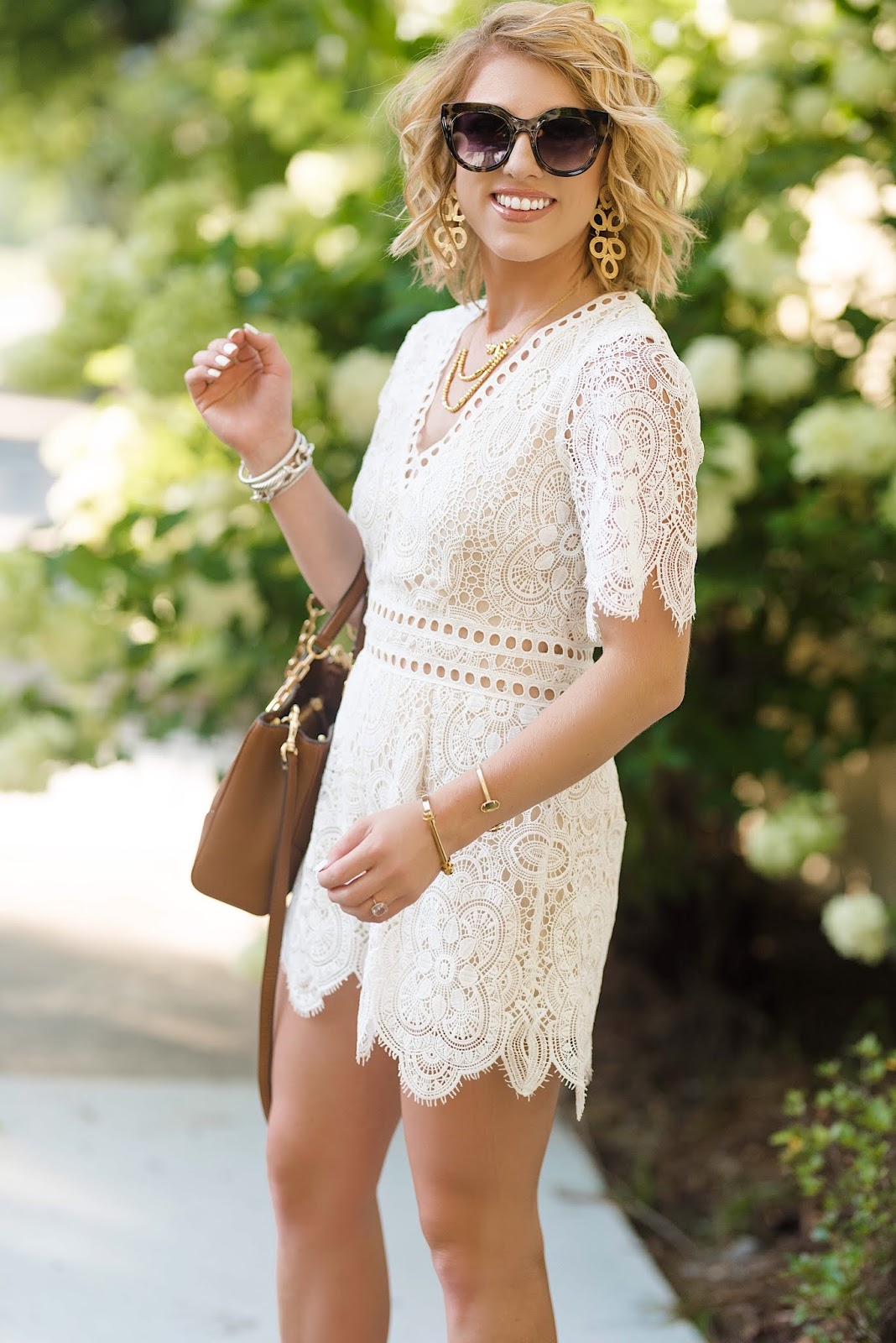 Nordstrom Anniversary Sale Lace Romper, Necklaces, Sunglasses and Tory Burch Bag - Something Delightful