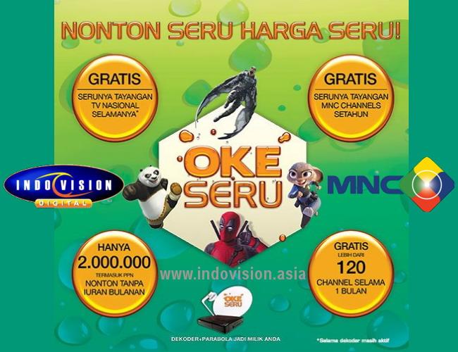 Harga dan wilayah jangkauan Paket Okeseru dari Indovision.