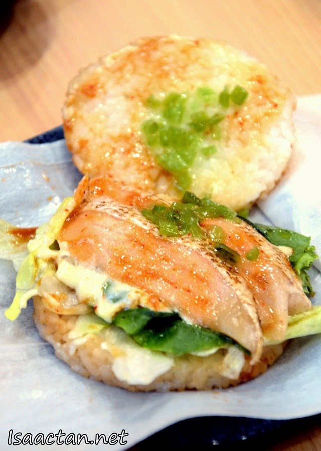 #3 Salmon Wasabi Rice Burger - RM15 in a set with pumpkin tempura and miso soup