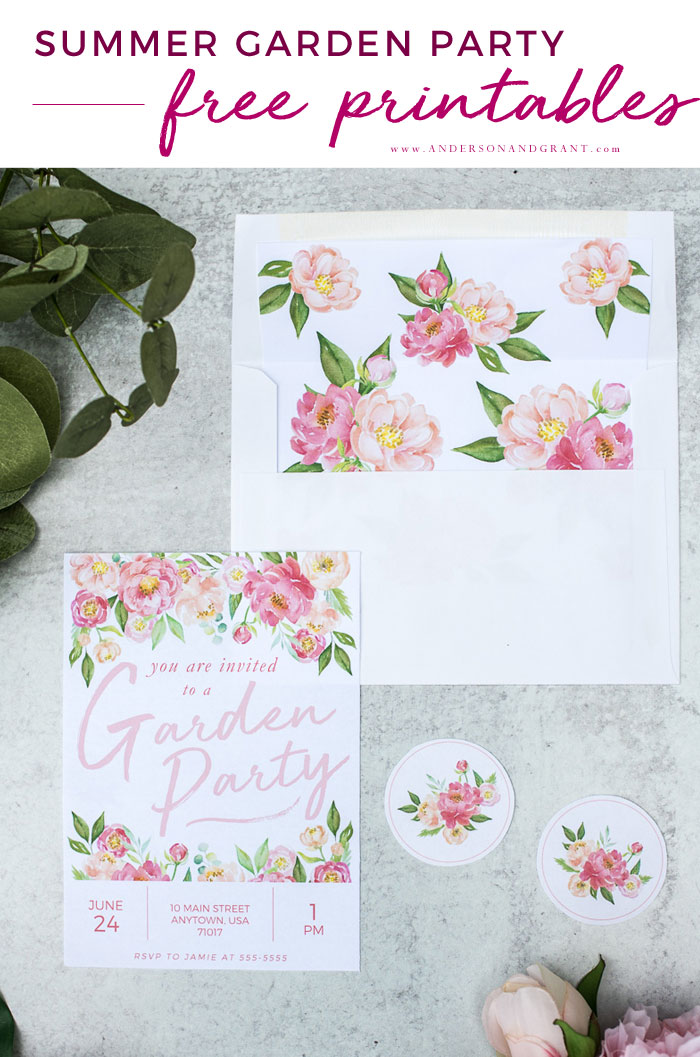 Printable Garden Party Invitation, Envelope insert and stickers