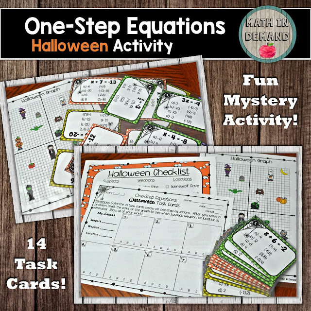One-Step Equations Halloween Task Cards
