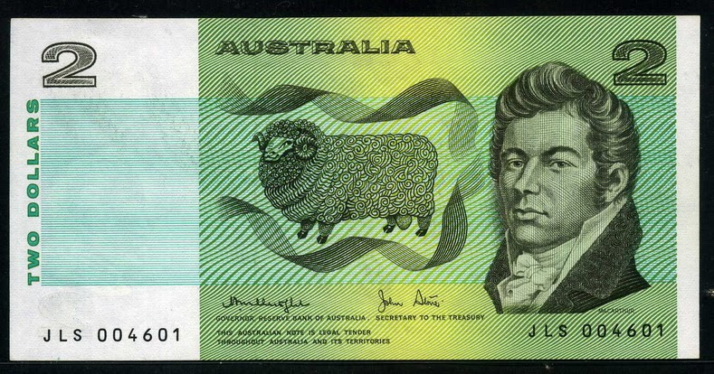 Australian Banknotes 2 Australian Dollars banknote 1979 John Macarthur & William James Farrer ...