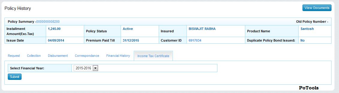 Generate Income Tax Certificate For Pli In Mccamish Po Tools