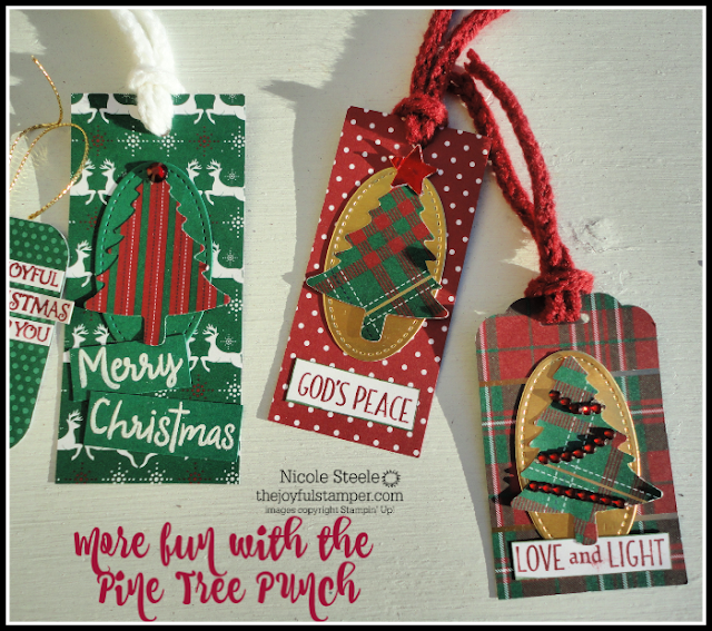 Christmas tags using Pine Tree Punch and bits and pieces on my desk | Nicole Steele, Independent Stampin' Up! Demonstrator