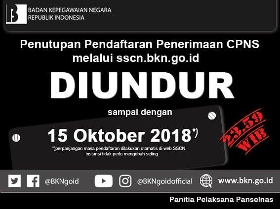 Masa Pendaftaran CPNS 2018 Diperpanjang Hingga 15 Oktober