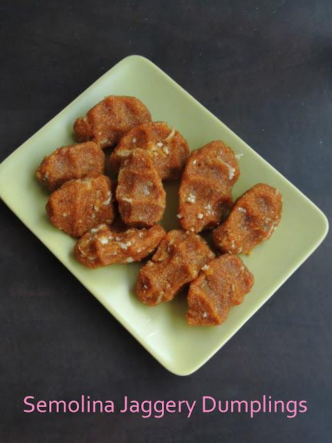 Semolina Jaggery Dumplings, Sweet Semolina Pidi Kozhukattai