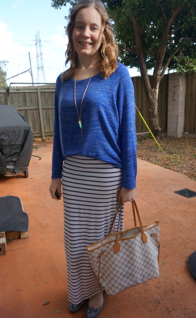 blue marle knit jumper navy white stripe maxi skirt LV neverfull bag