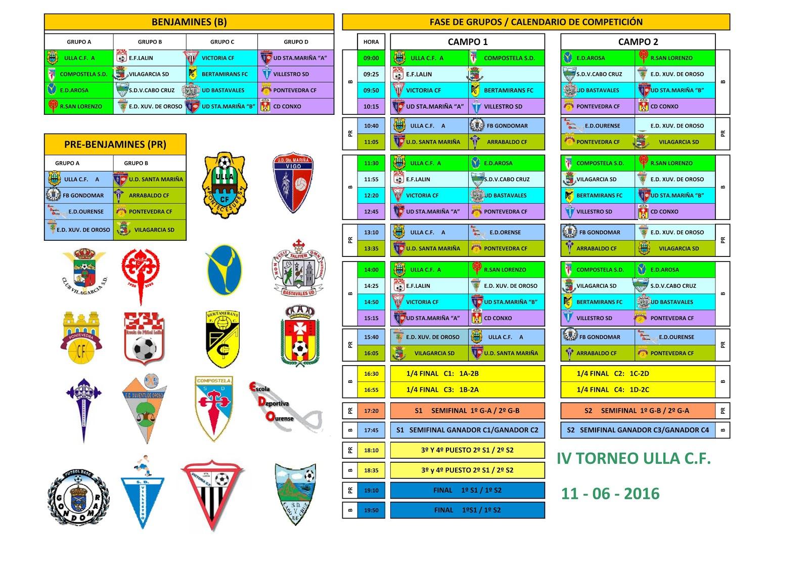 Torneo Ulla C.F. 2016 Prebenjamín, benjamín y alevín: Horarios