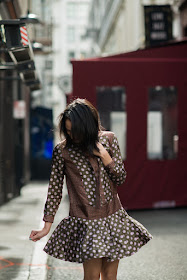 new haircut, SF Claude Lane, San Francisco, Parisian chic, parisian street, Lancôme L'Absolu lipstick, Banana Republic Foulard Dress, 1920's style, how to style a dropwaist dress, strappy flats