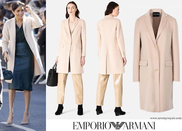 Meghan Markle wore EMPORIO ARMANI Cashmere Double Cloth Coat