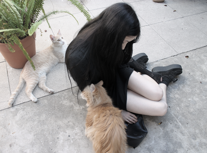 outfit-ootd-grunge-gothic-style-black-hollowed-cardigan-dress-creepers-blogger-argentina-cats