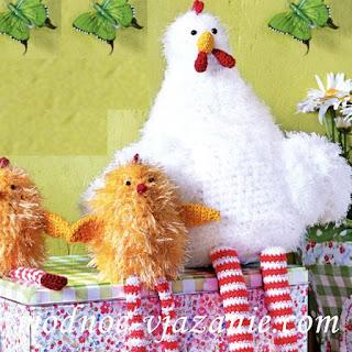 курица с цыплятами крючком