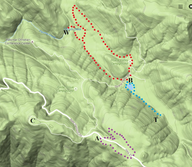 Palomar State Mountain birding hiking trail map