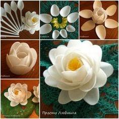 flores plásticas feitas com colheres descartáveis