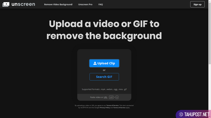 Halaman Upload Unscreen - Menghapus Background Video Secara Otomatis